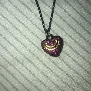 Juicy couture black & pink heart pendant necklace